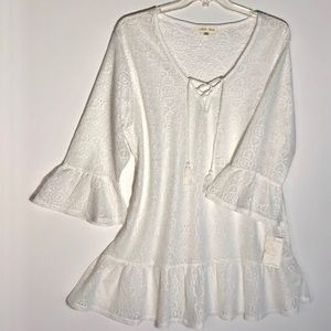 Miken Swim White Laced Coverup Laced Up Front XXL